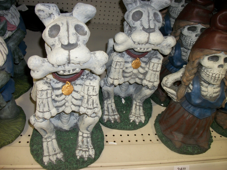 the halloween lawn garden section included a number of spooky outdoor statues the cutest of which had to be these skeletal dogs eager to play fetch with - Menards Halloween Decorations