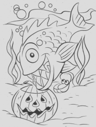 This is a Halloween image because there is a pumpkin and that is a piranha.