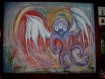 This creature was designed by me at age 5, and painted on canvas by my Grandmother.